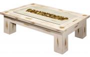 Table basse rectangulaire chêne massif blanc vitrée L150