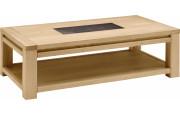 Table basse rectangulaire chêne naturel céramique