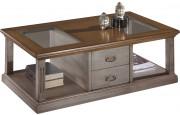 Table basse rectangulaire gris double plateau vitrée 2 tiroirs