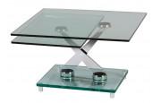 Table basse rectangulaire modulable acier plateau verre