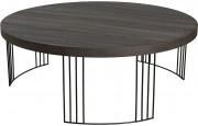 Table basse ronde chêne pieds métal