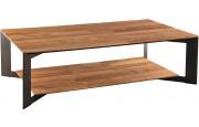 Table basse teck recyclé double plateau pieds métal – MAXUS