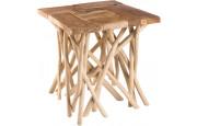 Table d'appoint teck naturel pieds bois flotté
