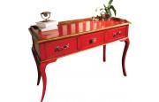 Table d'écriture châtaignier laque rouge 3 tiroirs pieds galbés