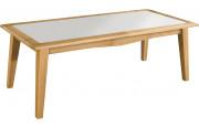 Table de repas L220 chêne massif clair plateau verre blanc