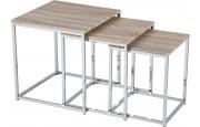 Table gigogne carré acier chromé