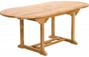 Table ovale teck L180 à 240 1 allonge l100