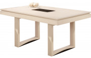 Table rectangulaire chêne massif blanc pierre 2 allonges papillons L185