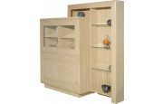 Vitrine chêne blanchi 4 portes avec étagère de complément
