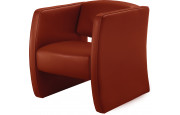 Fauteuil cuir contemporain Soren rouge