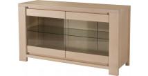 10297 - Bahut chêne massif 2 portes verre 1 étagère