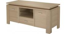 10419 - Meuble TV 2 porte 1 niche 1 tiroir chêne blanc pierre