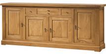 10537 - Buffet chêne massif ciré 4 portes 3 tiroirs centraux