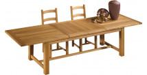 10543 - Table de ferme chêne massif ciré 2 allonges centrales L220