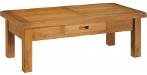 10595 - Table basse rectangulaire 100% chêne massif ciré 1 tiroir