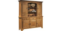 10612 - Buffet vaisselier chêne massif ciré 5 portes 5 tiroirs