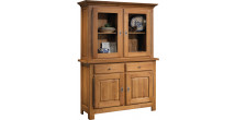 10642 - Buffet vaisselier chêne massif ciré 4 portes 2 tiroirs