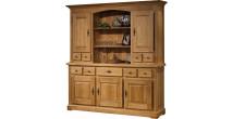 10679 - Buffet vaisselier chêne massif ciré 5 portes 5 tiroirs
