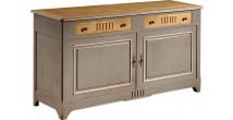10876 - Buffet merisier laqué 2 portes 2 tiroirs à cannelures