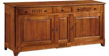 10878 - Buffet merisier 3 portes 3 tiroirs à cannelures