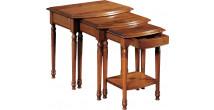 10902 - Tables gigognes merisier pieds tournés 1 tiroir