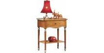 11002 - Table d'appoint merisier laquée 1 tiroir double plateau