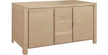 11764 - Buffet chêne massif naturel 2 portes 3 tiroirs décor cannelé