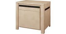 11785 - Confiturier chêne naturel 1 porte 1 tiroir décor cannelé noir