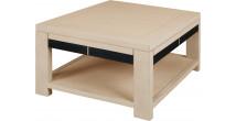 11786 - Table basse carrée chêne naturel double plateau cannelé