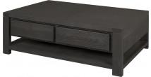 11788 - Table basse double plateau 2 tiroirs chêne taupe