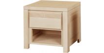 11797 - Chevet chêne naturel 1 tiroir 1 niche décor cannelé