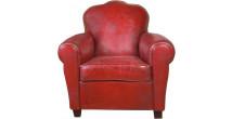 1226 - Fauteuil club Moustache Tamaris cuir basane clouté rouge