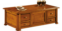 12955 - Table basse bar 4 tiroirs 2 tirettes