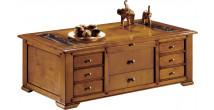 12979 - Table basse merisier 4 portes 2 tiroirs
