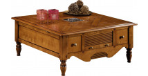 12983 - Table basse carrée cannelée 3 tiroirs