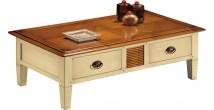 12994 - Table basse rectangulaire laquée crème 2 tiroirs 2 tirettes