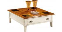 12999 - Table basse carrée laquée blanc 2 tiroirs 2 tirettes