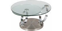 1372 - Table basse ronde en verre socle inox