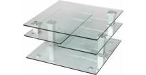 1396 - Table basse carrée en verre 3 plateaux