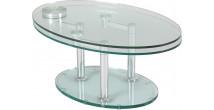 1408 - Table basse verre ovale articulée