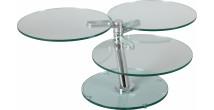 1414 - Table basse ronde articulée 3 plateaux verre