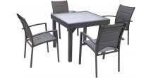 Ensemble Modulo 4 table carrée et 4 fauteuils aluminium