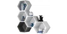 2412 - Etagère design laque brillante 5 polygones