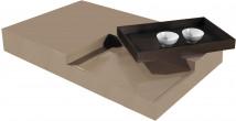 2537 - Table basse design laque taupe plateau de service