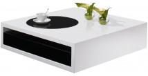 2541 - Table basse design laque blanc et noir brillant 1 tiroir