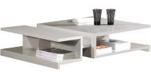 2553 - Table basse design laque gris brillant 2 niches