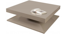 2561 - Table basse design carrée laque taupe brillant