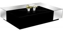 2575 - Table basse design laque noir brillant miroirs