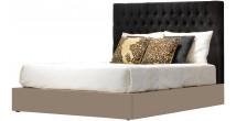 Tête de lit design laque taupe brillant pour lit 160