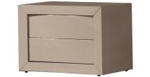 2634 - Chevet design laqué taupe brillant 2 tiroirs